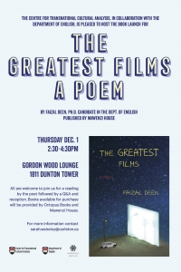 The Greatest Films, A Poem by Faizal Deen Book Launch